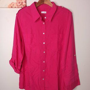 CHICO'S Hot Pink Button Down Blouse sleeves